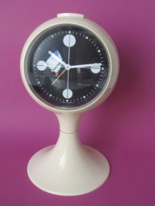 Clocks Blessing two jewels rhythm,Blessing alarm clock, white pedestal tulip shape, made in Germany. Space age era, made of plastic from the early 1970S