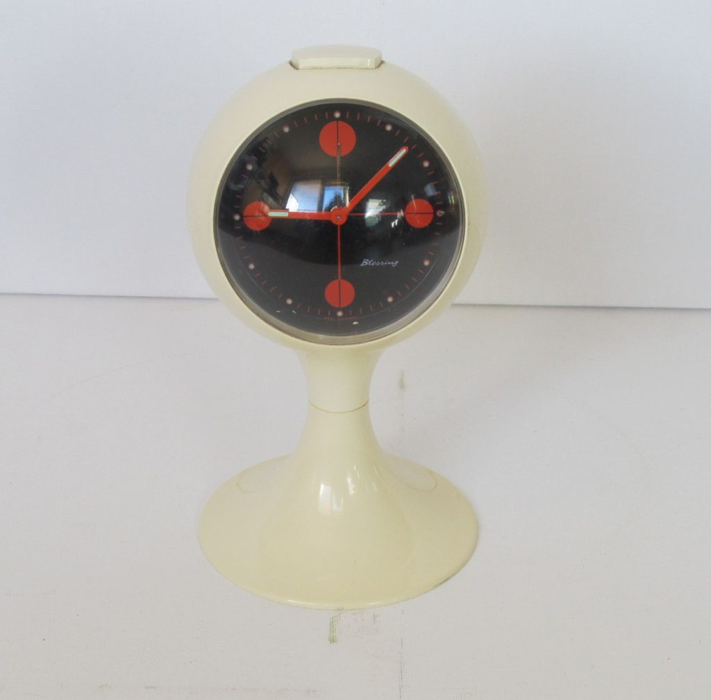 Clocks Blessing two jewels rhythm,Blessing alarm clock, pedestal tulip shape, made in Germany. Space age era plastic alarm clock from the early 1970s