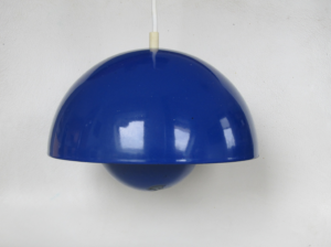 flower pot verner panton blue ceiling lamp