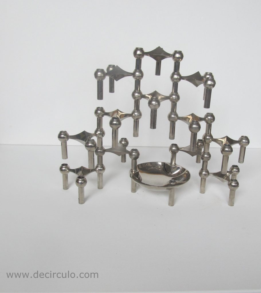 Candle holders designed by Ceasar Stoffi and Fritz Nagel and manufactured by BMF Set of 12 with bowl & stackable