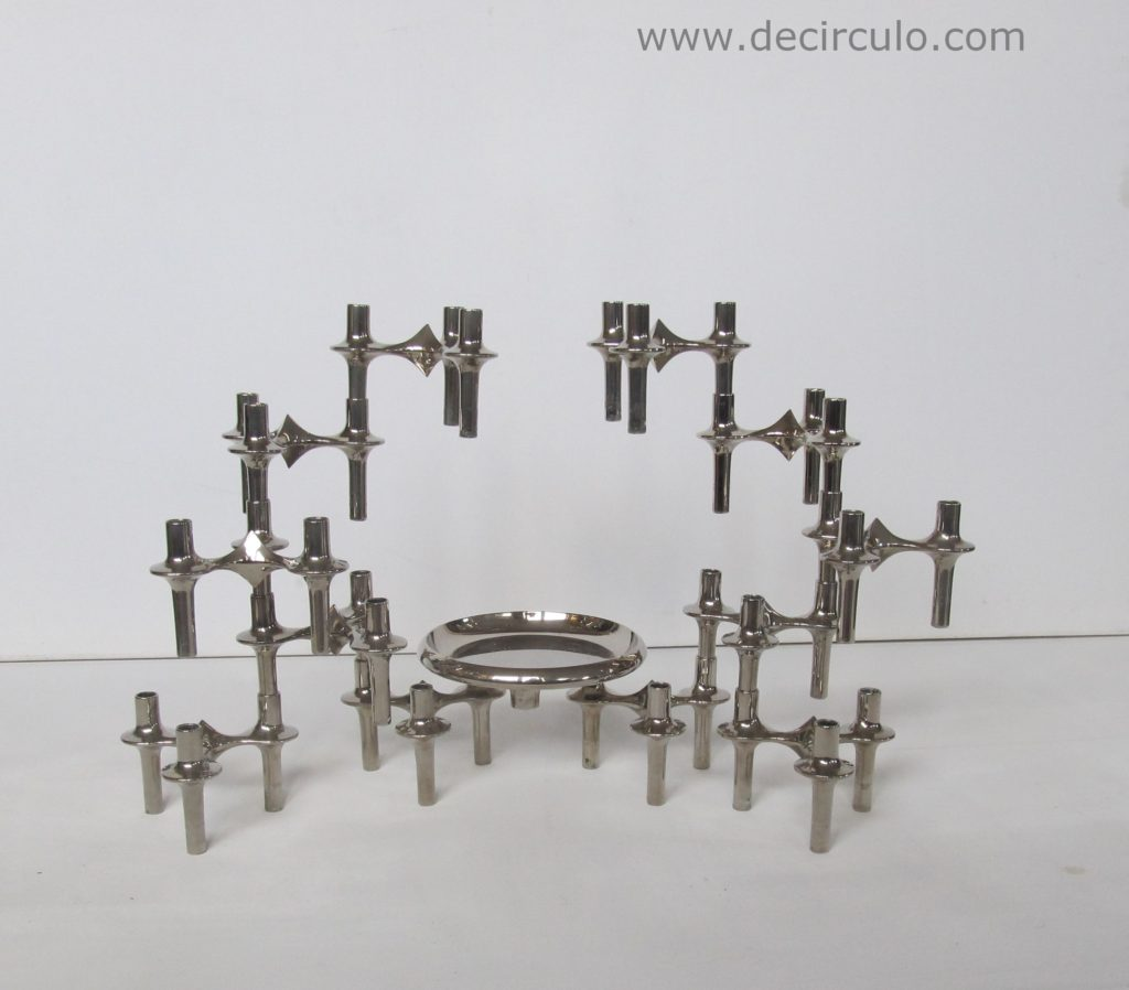 Set of 12 BMF stackable candle holders plus bowl, nagel metal candlesticks with tray