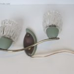 Mid century wall lights brass sconces with crystal glasses from 1960.