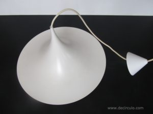 Lyskaer pendant lamp SEMI, white hanging light from the 1980s