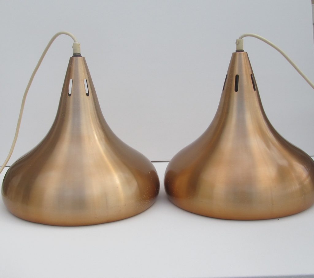 two copper pooltable lamps