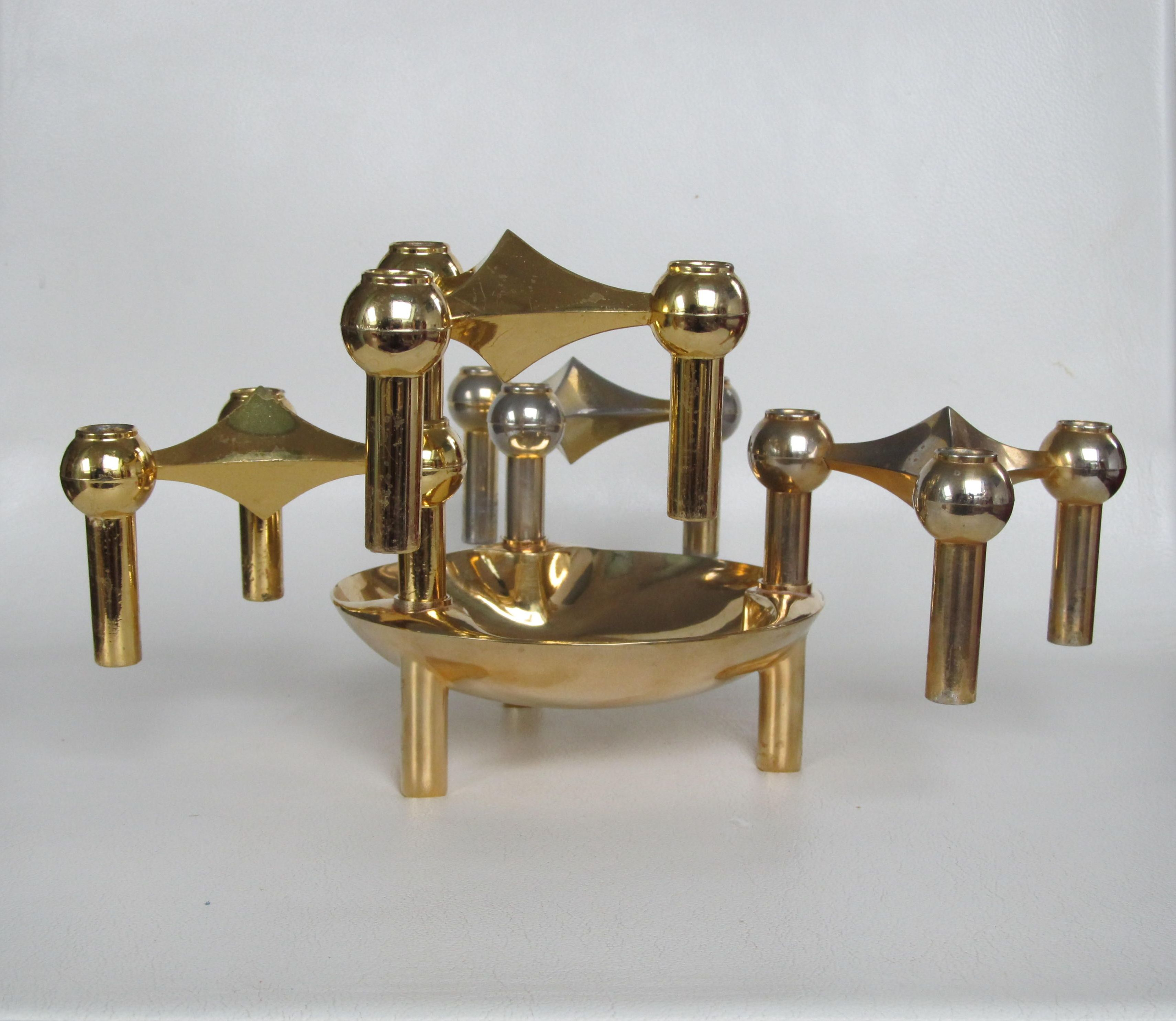 Nagel Bmf Golden Candlesticks And Bowl